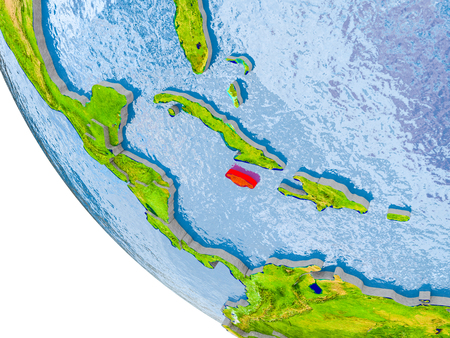 Map of Jamaica in red on globe with real planet surface, embossed countries with visible country borders and water in the oceans. 3D illustration.