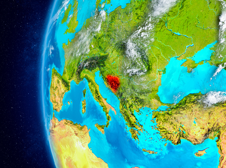 Map of Bosnia and Herzegovina as seen from space on planet Earth with clouds and atmosphere. 3D illustration. Stock Photo