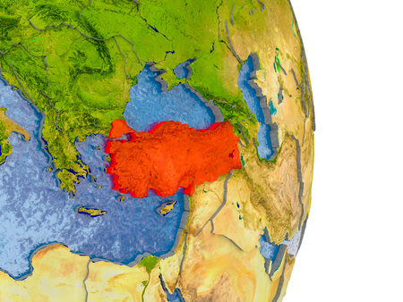 Turkey in red on model of globe with embossed countries and realistic water. 3D illustration.