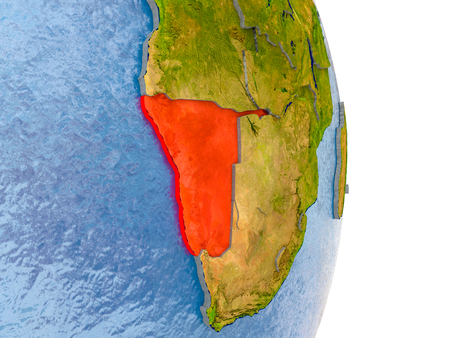 Namibia in red on model of globe with embossed countries and realistic water. 3D illustration.