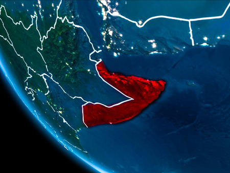 Map of Somalia in red as seen from space on planet Earth at night with white borderlines and city lights. 3D illustration. Stock Photo