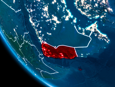 Map of Yemen in red as seen from space on planet Earth at night with white borderlines and city lights. 3D illustration. Stock Photo