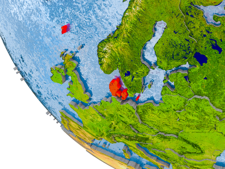 Map of Denmark in red on globe with real planet surface, embossed countries with visible country borders and water in the oceans. 3D illustration.