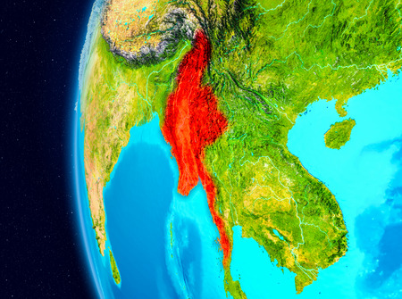 Illustration of Myanmar as seen from Earth's orbit on planet Earth. 3D illustration.