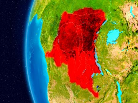 Illustration of Democratic Republic of Congo as seen from Earth's orbit on planet Earth. 3D illustration. Standard-Bild