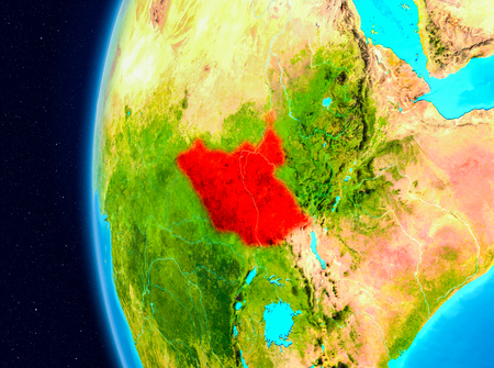 Illustration of South Sudan as seen from Earth's orbit on planet Earth. 3D illustration.