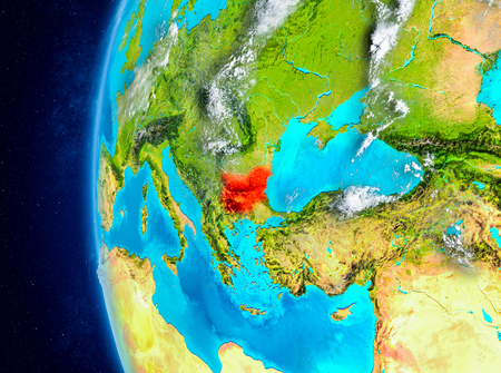 Map of Bulgaria as seen from space on planet Earth with clouds and atmosphere. 3D illustration.
