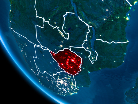 Map of Zimbabwe in red as seen from space on planet Earth at night with white borderlines and city lights. 3D illustration. Stock Photo