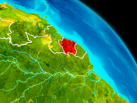 Space orbit view of Suriname highlighted in red on planet Earth with visible borders. 3D illustration.