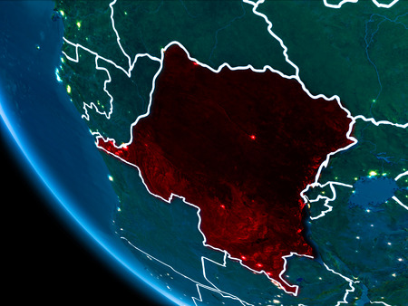 Map of Democratic Republic of Congo in red as seen from space on planet Earth at night with white borderlines and city lights. 3D illustration.