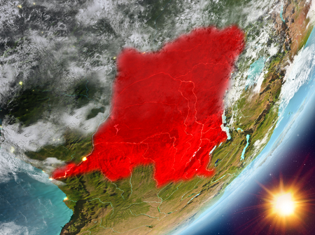 Democratic Republic of Congo from orbit of planet Earth in sunrise with highly detailed surface textures and clouds. 3D illustration.