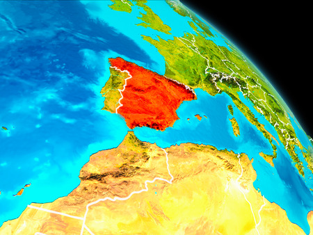 Space orbit view of Spain highlighted in red on planet Earth with visible borders. 3D illustration.
