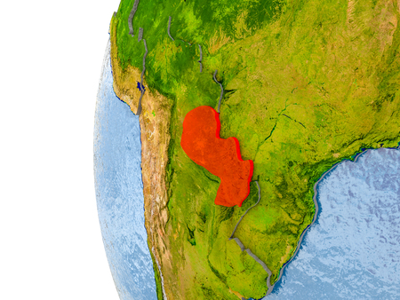 Paraguay in red on globe with real land surface, visible country borders and water in place of ocean. 3D illustration.