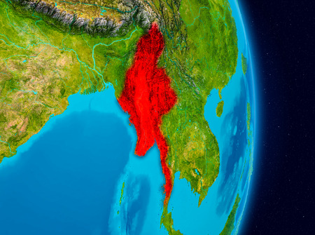 Country of Myanmar in red on planet Earth. 3D illustration.