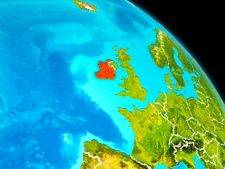 Space orbit view of Ireland highlighted in red on planet Earth with visible borders. 3D illustration.