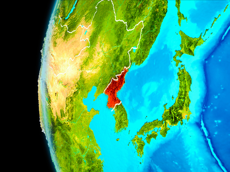 North Korea as seen from Earth's orbit on planet Earth highlighted in red with visible borders. 3D illustration.