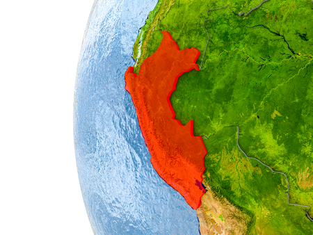 Peru in red on globe with real land surface, visible country borders and water in place of ocean. 3D illustration. Stock Photo