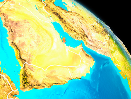 Space orbit view of Qatar highlighted in red on planet Earth with visible borders. 3D illustration.