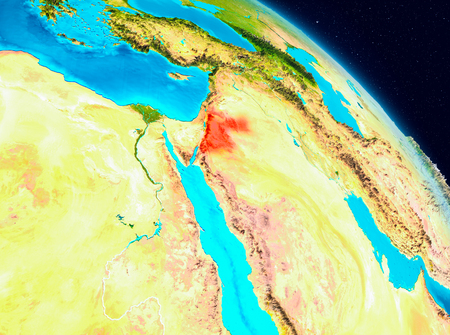 Space view of Jordan highlighted in red on planet Earth. 3D illustration.