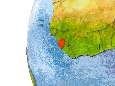 Sierra Leone in red on globe with real land surface, visible country borders and water in place of ocean. 3D illustration.