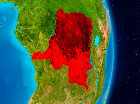 Country of Democratic Republic of Congo in red on planet Earth. 3D illustration.