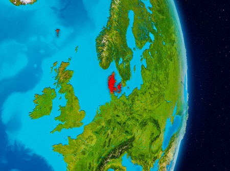 Country of Denmark in red on planet Earth. 3D illustration.