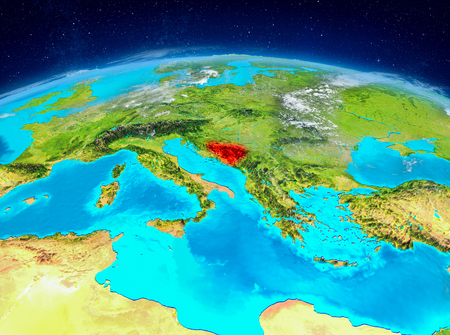 Orbit view of Bosnia and Herzegovina highlighted in red on planet Earth with highly detailed surface textures. 3D illustration.