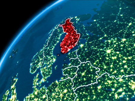 Finland highlighted in red from Earth's orbit at night with visible country borders. 3D illustration.