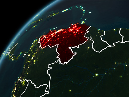 Venezuela in red on planet Earth at night with visible borderlines and city lights. 3D illustration.