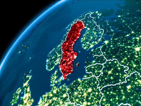 Sweden highlighted in red from Earth's orbit at night with visible country borders. 3D illustration. Elements of this image furnished by NASA.