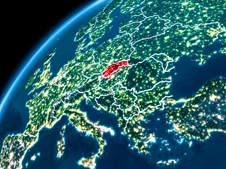Slovakia highlighted in red from Earth's orbit at night with visible country borders. 3D illustration.