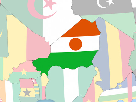 Niger with embedded flag. 3D illustration. Stock Photo