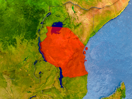 Tanzania in red on realistic map with embossed countries. 3D illustration.