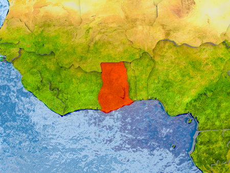 Ghana in red on realistic map with embossed countries. 3D illustration.