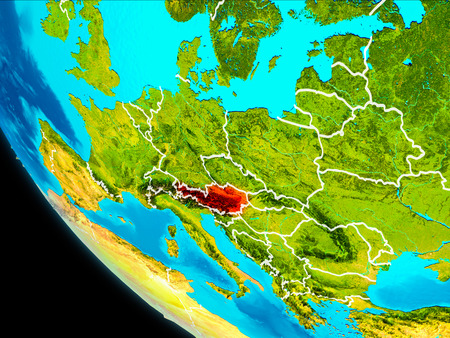 Austria highlighted in red on planet Earth with visible borders. 3D illustration.