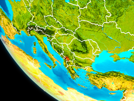 Kosovo highlighted in red on planet Earth with visible borders. 3D illustration.