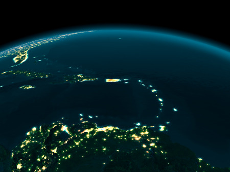 Country of Puerto Rico in red on planet Earth at night. 3D illustration.