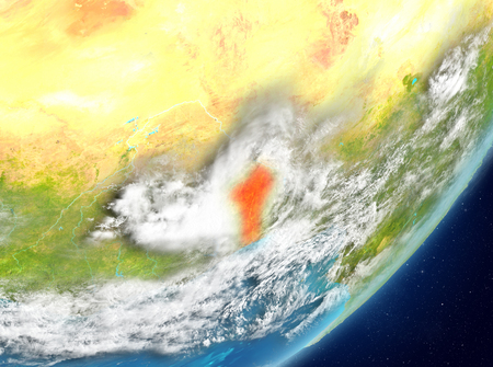 Satellite view of Benin highlighted in red on planet Earth with clouds. 3D illustration.