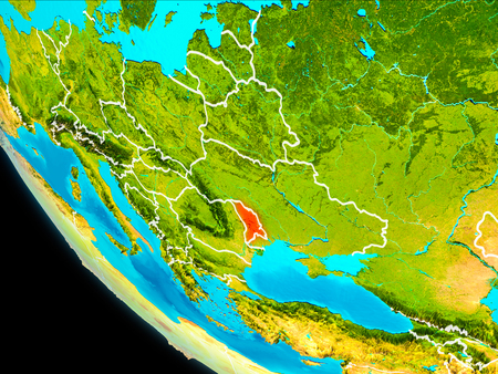 Moldova highlighted in red on planet Earth with visible borders. 3D illustration. Stock Photo