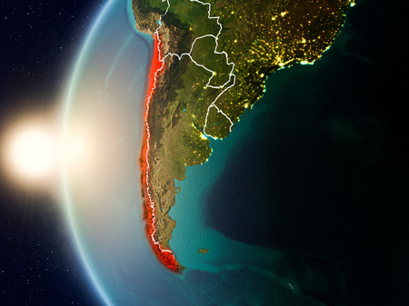 Illustration of Chile as seen from Earth's orbit during sunset with visible country borders. 3D illustration. Фото со стока - 97789568