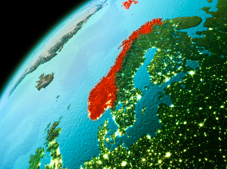 Evening over Norway as seen from space on planet Earth. 3D illustration. Stock Photo