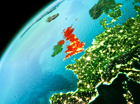 Evening over United Kingdom as seen from space on planet Earth. 3D illustration.