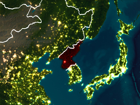 North korea as seen from earths orbit on planet earth at night 97789583 north korea highlighted in red from earths orbit at night with visible country borders 3d illustration gumiabroncs Image collections