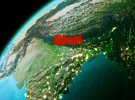 Evening over Nepal as seen from space on planet Earth. 3D illustration.