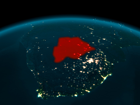 Country of Botswana in red on planet Earth at night. 3D illustration.