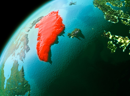 Evening over Greenland as seen from space on planet Earth. 3D illustration.
