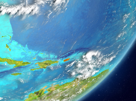 Satellite view of Puerto Rico highlighted in red on planet Earth with clouds. 3D illustration. Stock Photo