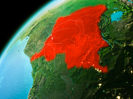 Evening over Democratic Republic of Congo as seen from space on planet Earth. 3D illustration.