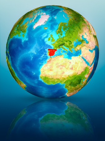 Spain in red on model of planet Earth on reflective blue surface. 3D illustration.