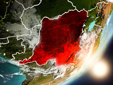 Democratic Republic of Congo from space with highly detailed surface textures and visible country borders. 3D illustration.